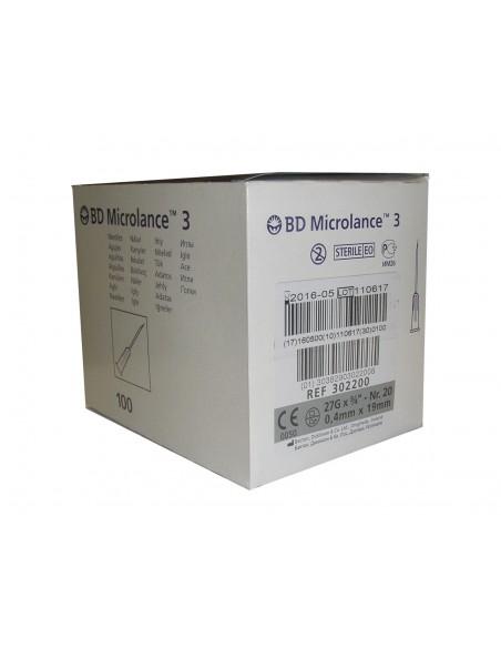 Aguja Hipodérmica 0,40x19 27G 3/4 Ref.: 302200, Caja 100 uni