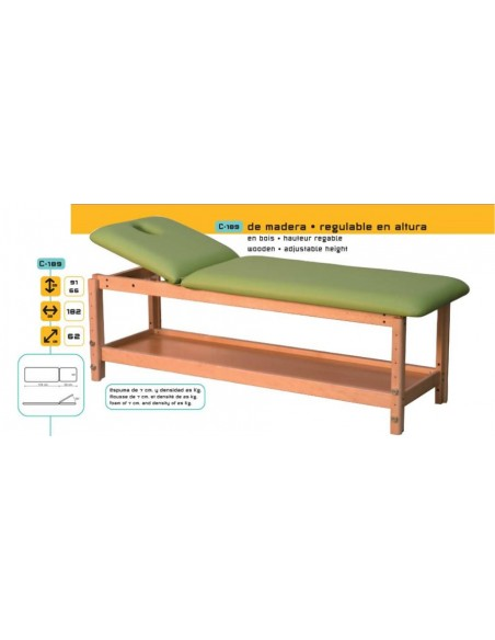 Camilla de masajes de madera,regulable en altura 2 cuerpos.