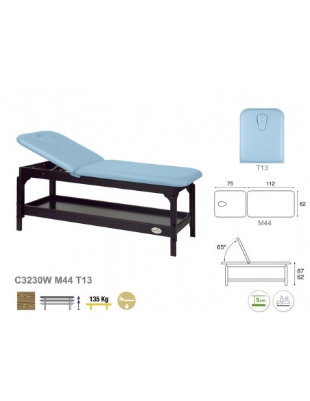 Camilla masaje de madera Wengue, regulable 2 cuerpos.