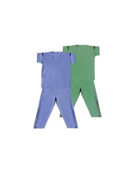 Pijama Quirúrgico SMS Talla M Desechables, Caja 30 unidades.