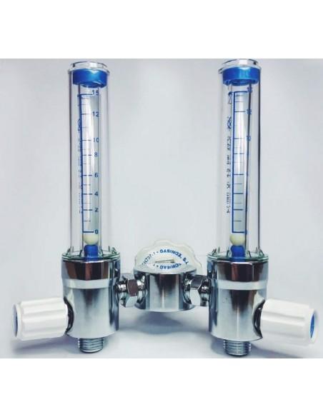 Caudalímetro doble flotámetro 0-15 l/min O2 con derivador y