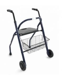 Andador plegable con asiento, respaldo y cesta.