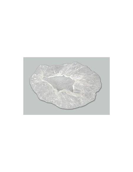 Boina de Plástico para ducha con ribete Blanco. Bolsa de 100