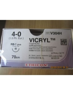 VICRYL 4/0 Aguja 17 mm.1/2 Circulo Incolora Caja 36 unidades