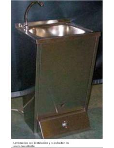 Lavabo Lavamanos con instalación y 1 pulsador en acero inoxi