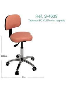 Taburete BICICLETA con base cromada y respaldo. Ref. S-4639